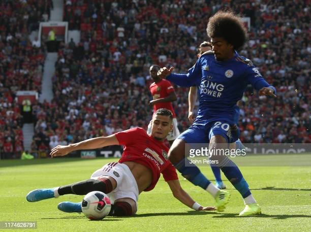 Andreas Pereira of Manchester United in action with Hamza Choudhury of Leicester City during the Premier League match between Manchester United and...
