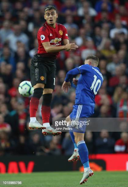 Andreas Pereira of Manchester United in action with James Maddison of Leicester City during the Premier League match between Manchester United and...