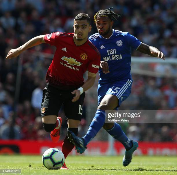 Andreas Pereira of Manchester United in action with Leandro Bacuna of Cardiff City during the Premier League match between Manchester United and...