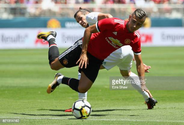 Andreas Pereira of Manchester United is tried by Gareth Bale of Real Madrid during the International Champions Cup match at Levi's Stadium on July 23...