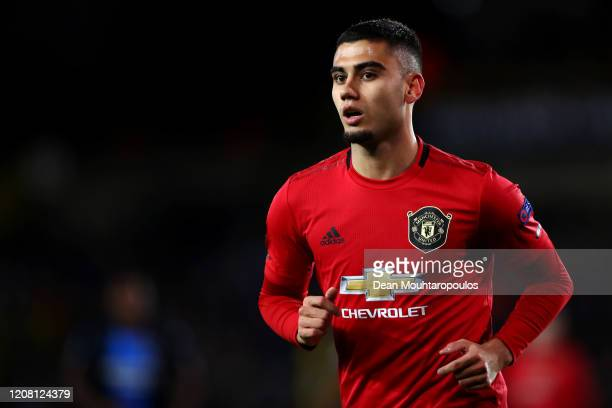 Andreas Pereira of Manchester United looks on during the UEFA Europa League round of 16 first leg match between Club Brugge and Manchester United at...