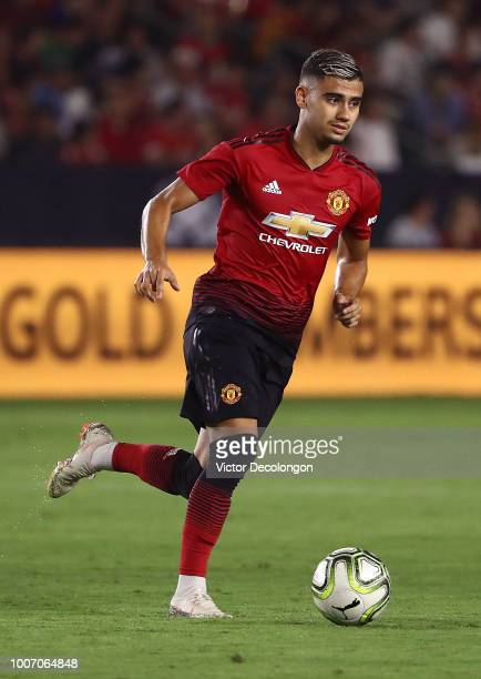 Andreas Pereira of Manchester United plays the ball across the midfield in the first half during the International Champions Cup 2018 match against...