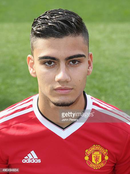 Andreas Pereira of Manchester United poses during the club's annual photocall at Old Trafford on September 28 2015 in Manchester England