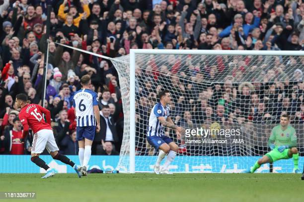Andreas Pereira of Manchester United scores a goal to make it 10 during the Premier League match between Manchester United and Brighton Hove Albion...