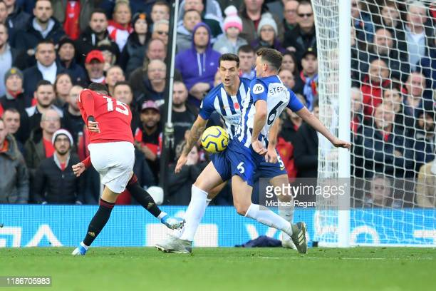 Andreas Pereira of Manchester United scores his team's first goal during the Premier League match between Manchester United and Brighton Hove Albion...