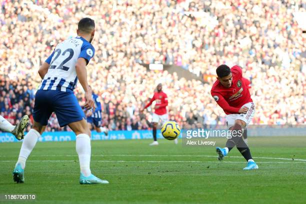 Andreas Pereira of Manchester United scores his team's first goal during the Premier League match between Manchester United and Brighton & Hove...