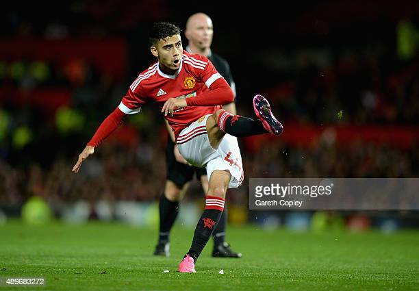 Andreas Pereira of Manchester United scores his team's second goal during the Capital One Cup Third Round match between Manchester United and Ipswich...