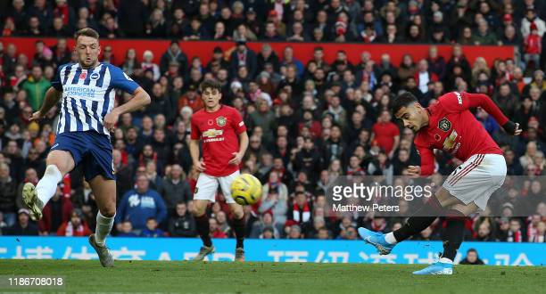 Andreas Pereira of Manchester United scores their first goal during the Premier League match between Manchester United and Brighton & Hove Albion at...