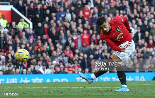 Andreas Pereira of Manchester United scores their first goal the Premier League match between Manchester United and Brighton Hove Albion at Old...