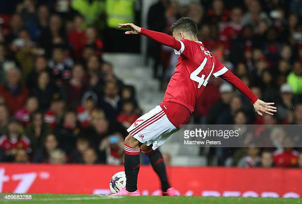 Andreas Pereira of Manchester United scores their second goal during the Capital One Cup Third Round match between Manchester United and Ipswich Town...