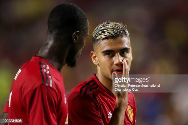 Andreas Pereira of Manchester United talks with Eric Bailly during the International Champions Cup game against the Club America at the University of...