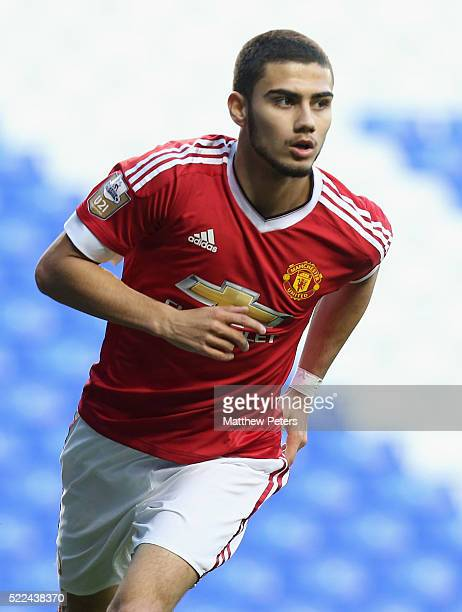 Andreas Pereira of Manchester United U21s celebrates scoring their second goal during the Barclays U21 Premier League match between Tottenham Hotspur...