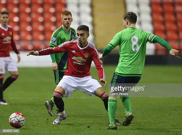 Andreas Pereira of Manchester United U21s in action during the Barclays U21 Premier League match between Manchester United U21s and Southampton U21...