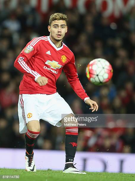Andreas Pereira of Manchester United U21s in action during the U21 Premier League match between Manchester United U21s and Chelsea U21s at Old...