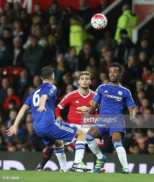 Andreas Pereira of Manchester United U21s in action with Charlie Colkett and Mukhtar Ali of Chelsea U21s during the U21 Premier League match between...