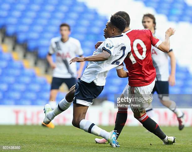 Andreas Pereira of Manchester United U21s scores their second goal during the Barclays U21 Premier League match between Tottenham Hotspur U21s and...