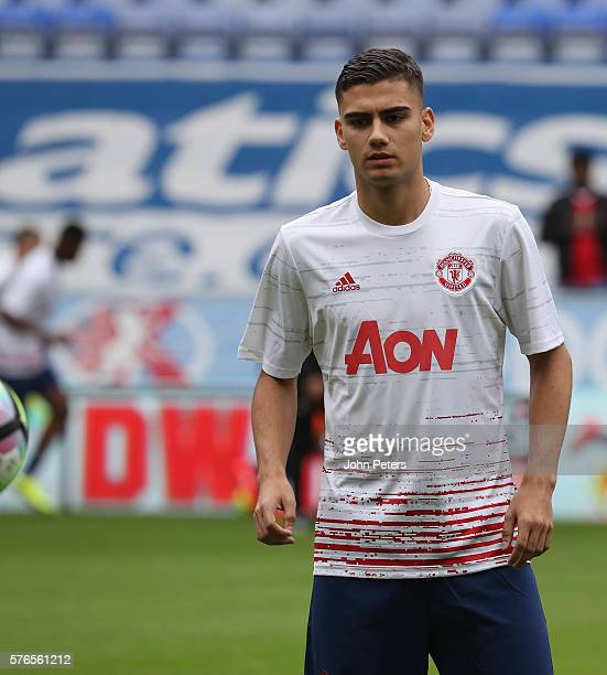 Andreas Pereira of Manchester United warms up ahead of the preseason friendly match between Wigan Athletic and Manchester United at JJB Stadium on...