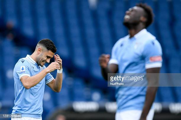 Andreas Pereira of SS Lazio and Felipe Caicedo of SS Lazio look dejected during the Serie A match between SS Lazio and FC Crotone at Stadio Olimpico,...