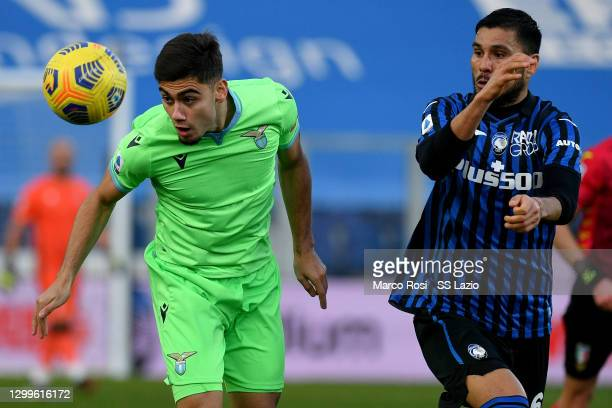 Andreas Pereira of SS Lazio compete for the ball with Josè Palomino during the Serie A match between Atalanta BC and SS Lazio at Gewiss Stadium on...