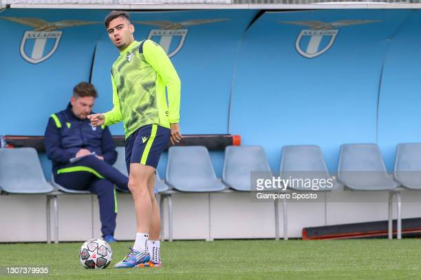 Andreas Pereira of SS Lazio controls the ball as he attends a training session at the SS Lazio headquarter on March 16, 2021 in Formello near Rome,...