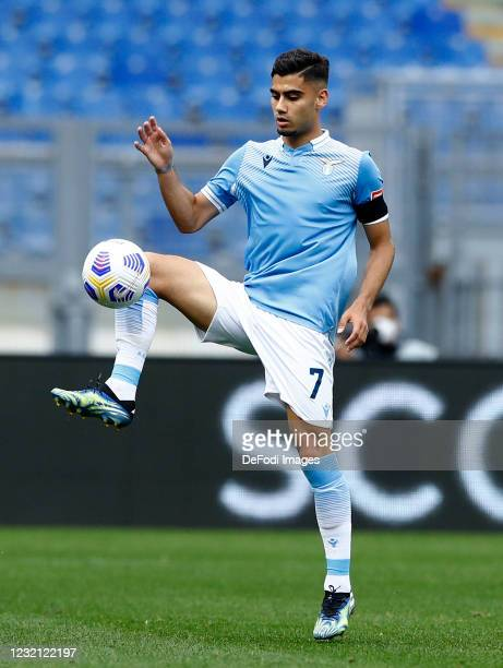Andreas Pereira of SS Lazio controls the ball during the Serie A match between SS Lazio and Spezia Calcio at Stadio Olimpico on April 3, 2021 in...
