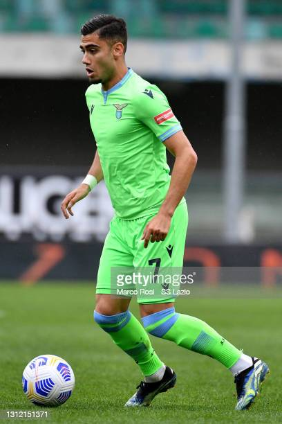 Andreas Pereira of SS Lazio during the Serie A match between Hellas Verona FC and SS Lazio at Stadio Marcantonio Bentegodi on April 11, 2021 in...