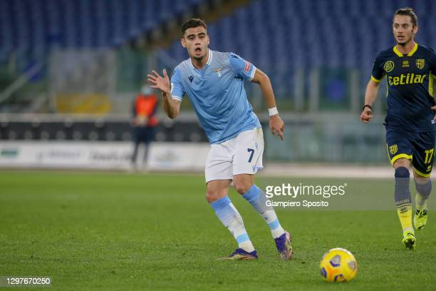 Andreas Pereira of SS Lazio in action during the Coppa Italia match between SS Lazio and Parma Calcio at Olimpico Stadium on January 21, 2021 in...
