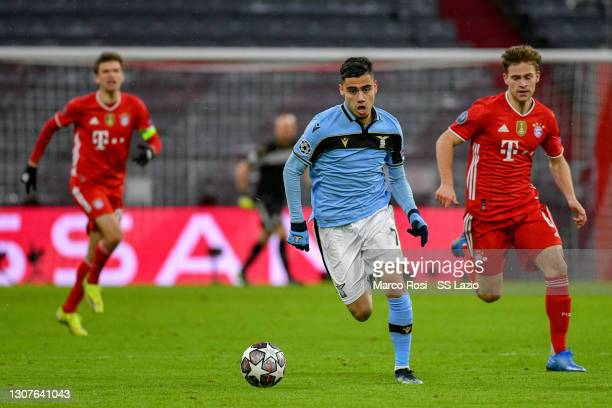 Andreas Pereira of SS Lazio in action during the UEFA Champions League Round of 16 match between Bayern München and SS Lazio at Allianz Arena on...