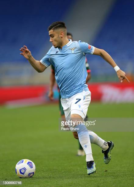 Andreas Pereira of S.S. Lazio runs with the ball during the Serie A match between SS Lazio and FC Crotone at Stadio Olimpico on March 12, 2021 in...