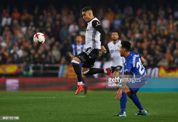 Andreas Pereira of Valencia CF and Hernan Perez of Deportivo Alaves during the Spanish Copa del Rey Round of 8 match between Valencia CF and...