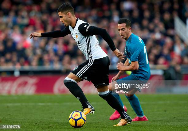 Andreas Pereira of Valencia CF competes for the ball with Lucas Vazquez of Real Madrid CF during the La Liga game between Valencia CF and Real Madrid...