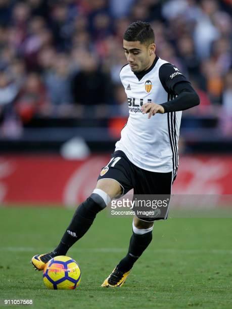 Andreas Pereira of Valencia CF during the La Liga Santander match between Valencia v Real Madrid at the Estadio de Mestalla on January 27 2018 in...