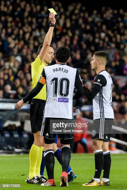 Andreas Pereira of Valencia CF getting the yellow card from Jose Maria Sanchez Martinez FIFA referee during the Copa Del Rey 201718 match between FC...