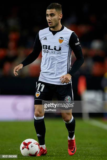 Andreas Pereira of Valencia CF with the ball during the Copa del Rey Round of 16 second leg game between Valencia CF and Las Palmas at Mestalla on...