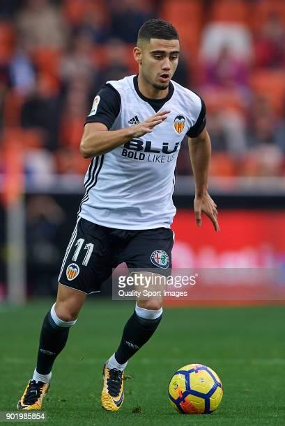 Andreas Pereira of Valencia in action during the La Liga match between Valencia and Girona at Mestalla stadium on January 6 2018 in Valencia Spain