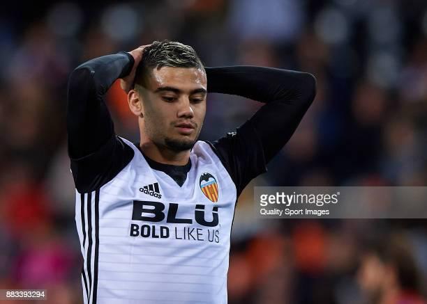 Andreas Pereira of Valencia reacts during the Copa Del Rey match between Valencia and Zaragoza at Mestalla Stadium on November 30 2017 in Valencia...
