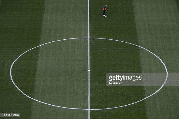 Andreas Pereira on the pitch prior to the La Liga game between Valencia CF and Girona FC at Mestalla on January 6 2018 in Valencia Spain