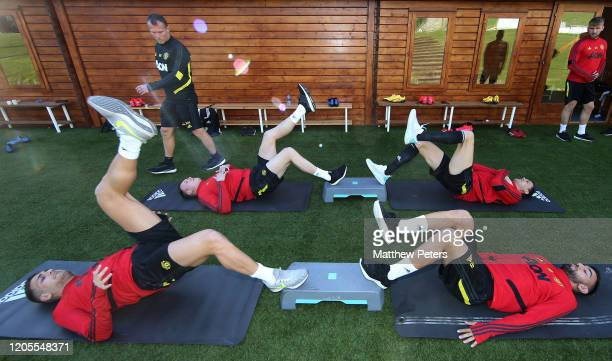Andreas Pereira, Phil Jones, Nemanja Matic and Bruno Fernandes of Manchester United in action during first team training session on February 11, 2020...