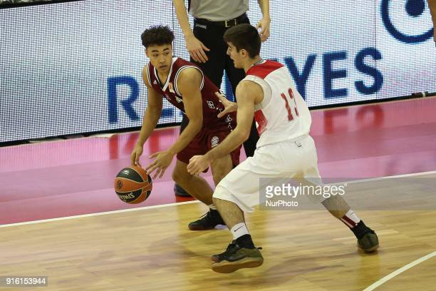 Andreas Perris of Olympiacos Piraeus vies Sasha Grant of FC Bayern Basketball during the EuroLeague Basketball Adidas Next Generation Tournament...