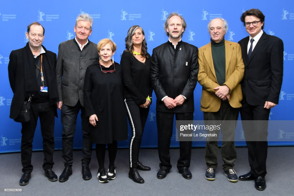 Andreas Pfaeffli, Matthias Esche, Elda Guidinetti, Cornelia Ackers, Philip Groening, Emmanuel Schlumberger, Philipp Kreuzer pose at the 'My Brother's Name is Robert and He is an Idiot' (Mein Bruder heisst Robert und ist ein Idiot) photo call during the 68th Berlinale International Film Festival Berlin at Grand Hyatt Hotel on February 21, 2018 in Berlin, Germany.