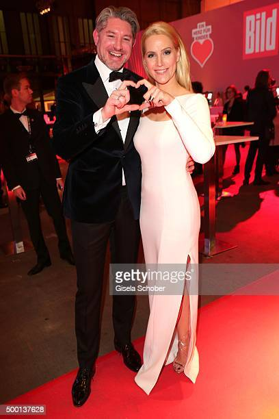 Andreas Pfaff and his wife Judith Rakers attend the Ein Herz Fuer Kinder Gala 2015 reception at Tempelhof Airport on December 5 2015 in Berlin Germany