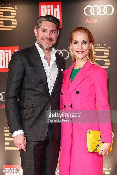 Andreas Pfaff and Judith Rakers attend the Bild 'Place to B' Party on February 07 2015 in Berlin Germany