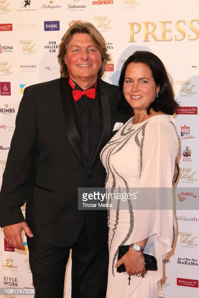 Andreas Pfitzmann and his partner Alexandra Dietzemann attend the 118th Berlin Press Ball on January 12 2019 in Berlin Germany