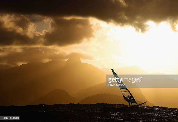 Andreas Pheobus Cariolou of Cyprus in action during a RSX class race on Day 7 of the Rio 2016 Olympic Games at Marina da Gloria on August 12 2016 in...