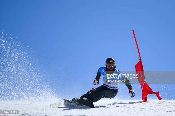 Andreas Prommegger of Austria competes in the quarterfinal of the Men's Parallel Giant Slalom on day 9 of the FIS Freestyle Ski Snowboard World...