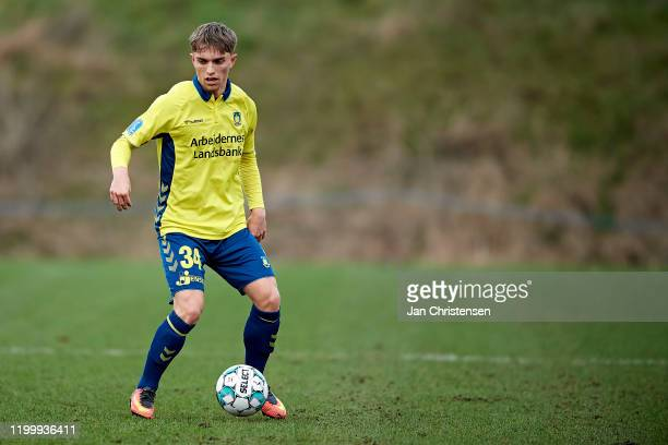 Andreas Pyndt Andersen of Brondby IF in action during the testmatch between Brondby IF and SonderjyskE at Brondby Stadion on February 10, 2020 in...