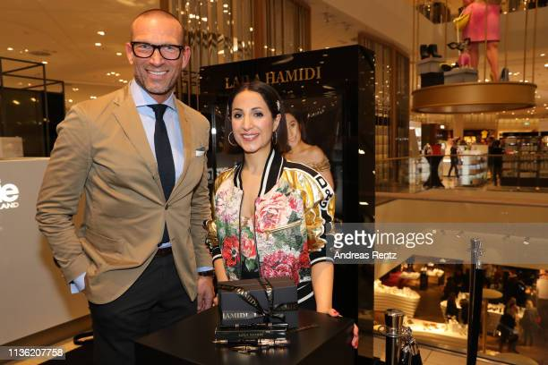 Andreas Rebbelmund and Laila Hamidi attend the 'Easy to pack brushes' launch by Laila Hamidi at Breuninger on March 16 2019 in Duesseldorf Germany