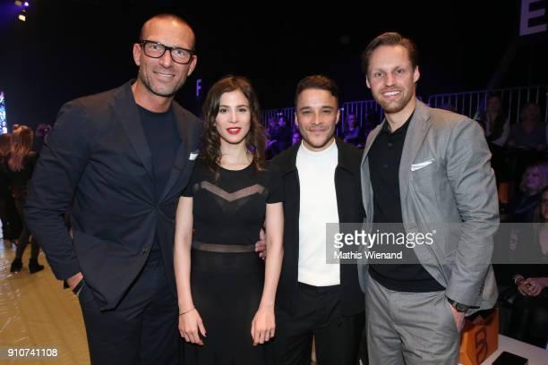 Andreas Rebbelmund Aylin Tezel Kostja Ullmann and Thomas Hoehn attend the Breuninger show during Platform Fashion January 2018 at Areal Boehler on...