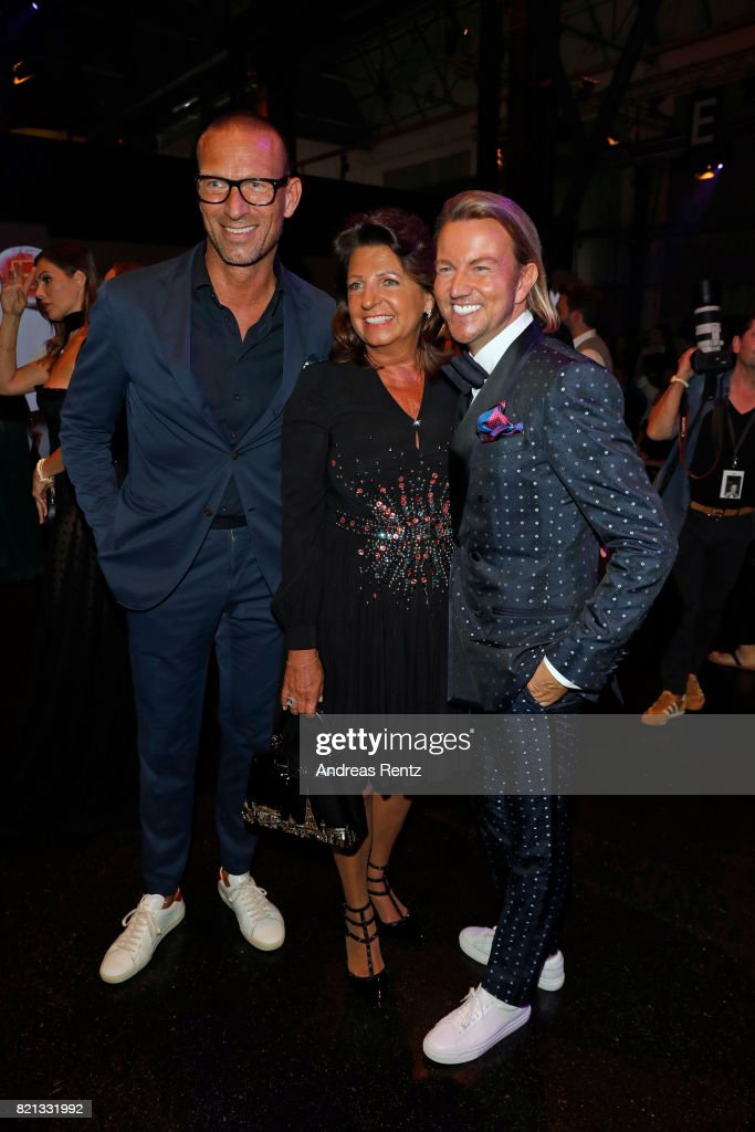 Andreas Rebbelmund, Babette Albrecht and Sandro Rath attend the Thomas Rath show during Platform Fashion July 2017 at Areal Boehler on July 23, 2017 in Duesseldorf, Germany.