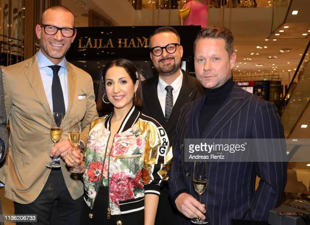 Andreas Rebbelmund Laila Hamidi Oliver Christian and Bastian Ammelounx attend the 'Easy to pack brushes' launch by Laila Hamidi at Breuninger on...